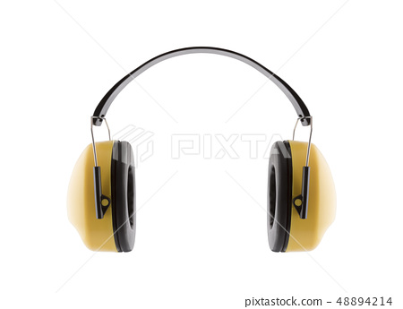 Hearing protection yellow ear muffs on white 48894214