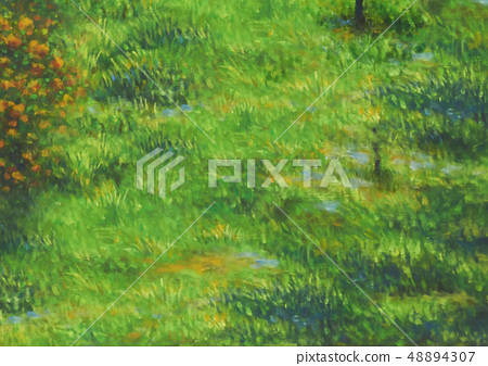 Green lawn painted with oil paints 48894307