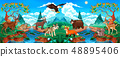 Funny wood animals in a mountain landscape  48895406