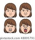 여성의 표정 (화) 일러스트 48895791