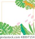 열대 식물과 치타의 배경 일러스트 48897154
