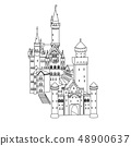 vector illustration, Neuschwanstein Castle in Germany, silhouette 48900637