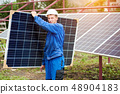 Installation of stand-alone exterior photo voltaic panels system. Renewable green energy generation. 48904183
