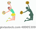 Cheerleader with pom-poms and her silhouette on white background. 48905309