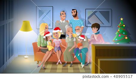 Celebrating Christmas with Family Cartoon Vector 48905517