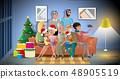 Big Family Christmas Party Cartoon Vector Concept 48905519