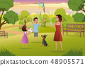 Happy Mother Playing with Kids in City Park Vector 48905571