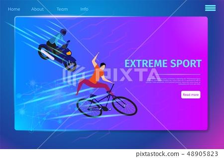 Extreme Sport Activity Banner, Biker and Motobiker 48905823