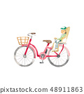 紅色自行車和孩子們 48911863