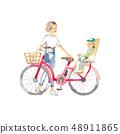 騎自行車,母親和孩子出門 48911865