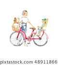 騎自行車,母親和孩子出去購物 48911866