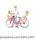 騎自行車,父親和小孩出去購物 48911867