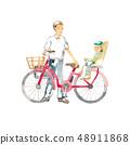 騎自行車,父親和孩子出門 48911868