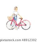 자전거 외출 여성 1 명 48912302