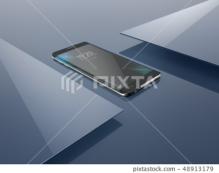 Abstract polygonal background with smartphone, geometric 3D illustration. Creative design template 48913179