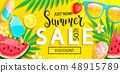 Sale banner with symbols for summer time. 48915789