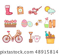 Set of 11 flat colorful spring icons 48915814