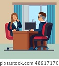 Business office conversation. Sitting businessman consultant and woman meet to interview talking 48917170