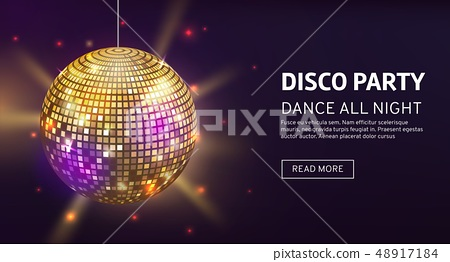 Disco banner. Mirrorball party disco ball invitation card celebration fashion partying poster 48917184