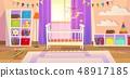 Baby room. Interior nursery bedroom newborn furniture cot children toys family lifestyle kid 48917185