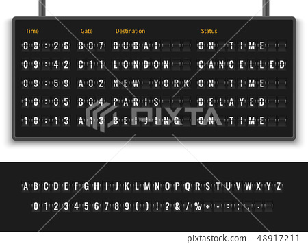 Airport board. Font alphabet info panel arrival departure display timetable destination flight 48917211