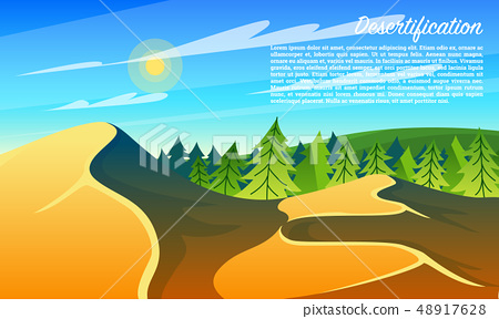 Desertification Forests. Climate change. Environmental pollution. Global problem concept. Ecological 48917628