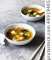 Japanese miso soup with oyster mushrooms  48919465