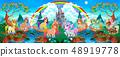 Unicorns and pegasus in a fantasy landscape 48919778