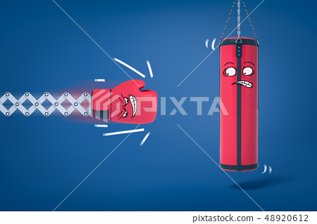 3d rendering of boxing glove about to hit punching bag, both with funny cartoon faces. 48920612