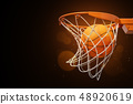 3d rendering of a basketball in the net on a dark background. 48920619