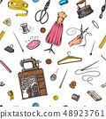 Sewing Seamless pattern. Tools and elements or materials for needlework. Tailor shop for badges 48923761