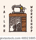 Sewing machine. Tailor shop badges label. Tool and element for needlework. Handmade equipment 48923885