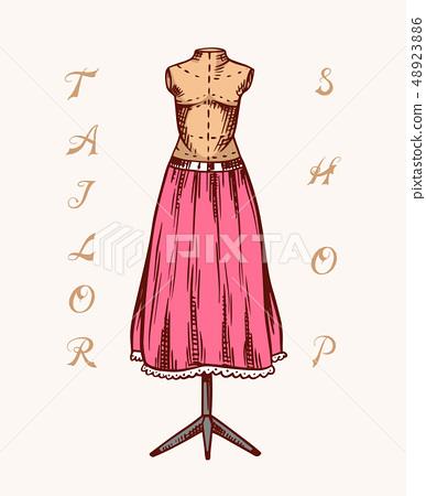 Sewing Mannequin Tailor Shop Badges Label Stock Illustration 48923886 Pixta