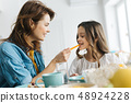 Close up of smiling woman feeding her daughter at the table 48924228