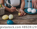 Close up little girl coloring eggs for Easter 48928129