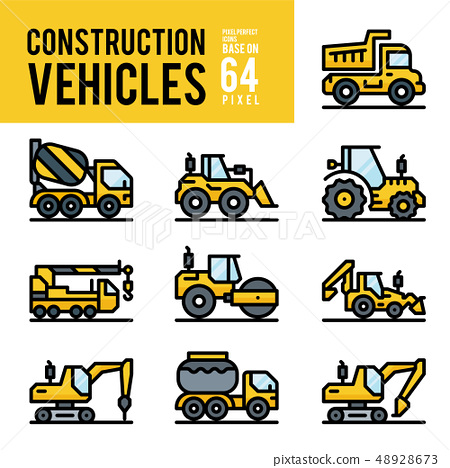 Construction Vehicle and Transport Outline Color 48928673