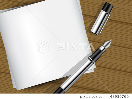 3D Mock up Realistic fountain Pen on white Paper 48930769