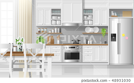 Interior background with kitchen in rustic style 48931030