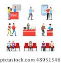 Cartoon Characters People In Cinema Theatre Set. Vector 48931546