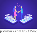 Online Dating and Virtual Communication Concept 3d Isometric View. Vector 48931547