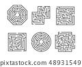 Mazes Signs Black Thin Line Set. Vector 48931549