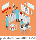 Laboratory Room Interior with Furniture Isometric View. Vector 48931550