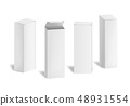 Realistic 3d Detailed White Blank Cardboard Cosmetic Boxes Template Mockup Set. Vector 48931554
