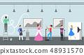 Cartoon Color Big Art Space Inside Interior. Vector 48931570