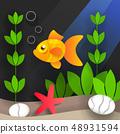 Underwater World And Sea Creatures, Vector 48931594