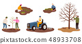 Set of happy farmers working on farm planting crops, plant a tree, plowing the field, pruning tree 48933708