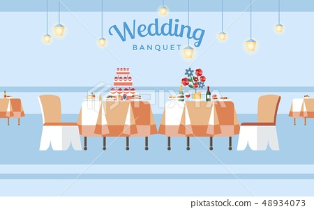 Wedding Banquet Hall Flat Vector Illustration 48934073