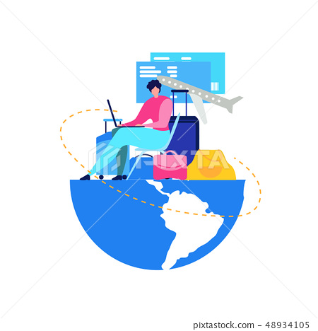 Booking Flight Tickets Online Flat Vector Concept 48934105