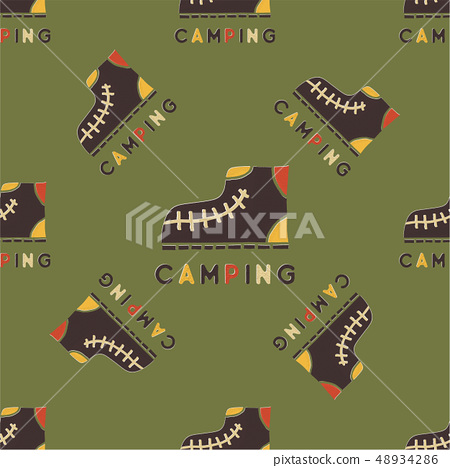 Camping Pattern Design - Outdoors Adventure seamless background with camp boots. Unusual cartoon 48934286