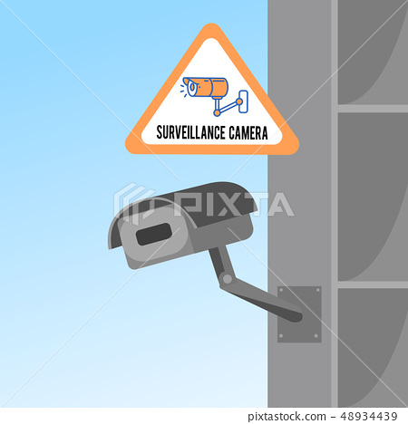 Surveillance Camera Flat Vector color Illustration 48934439